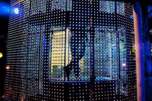 Close up of The Cage on stage showing LED pixels