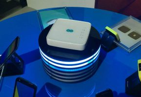 4GEE home router sitting on top of Cylindrical LED display plinth.